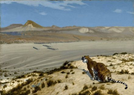 Gerome, Jean Leon: Tiger on the Watch. Fine Art Print/Poster. Sizes: A4/A3/A2/A1 (002876)